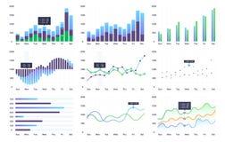 Gráficos y cartas fijados Estadística y datos libre illustration