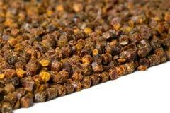 Gránulos del propóleos, producto de la abeja, composición del marco Fotos de archivo