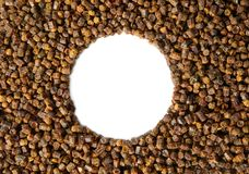 Gránulos del propóleos, producto de la abeja, composición del marco Imagen de archivo libre de regalías