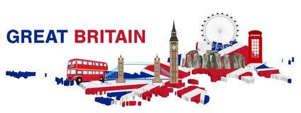 Grâ Bretanha com marco e ícone de Inglaterra ilustração royalty free