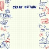 Grâ Bretanha Pen Drawn Doodles Vetora Collection Fotografia de Stock Royalty Free