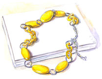 Grânulos amarelos, aquarela Fotografia de Stock