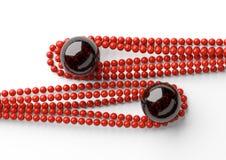 Grânulos bonitos vermelhos com a pérola preta grande no fundo branco Fotografia de Stock Royalty Free