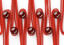 Grânulos bonitos vermelhos com a pérola preta grande no fundo branco Fotos de Stock Royalty Free