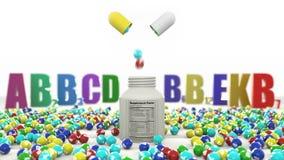 Grânulos com vitaminas caem da pílula vídeos de arquivo