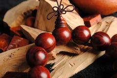 Grânulos de madeira Fotografia de Stock Royalty Free