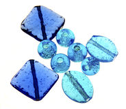 Grânulos de vidro azuis Fotografia de Stock Royalty Free