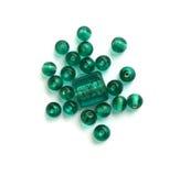Grânulos de vidro de verde do mar Imagem de Stock Royalty Free