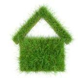Grünes Haus-Konzept - Gras-Haus auf weißem Hintergrund stockbild