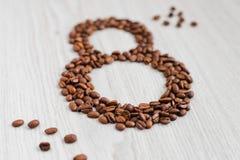 Grão café--oito no dia das mulheres Fotografia de Stock Royalty Free