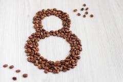 Grão café--oito no dia das mulheres Fotos de Stock Royalty Free