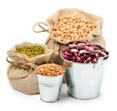 Grão-de-bico, feijões de mung, feijão vermelho nos sacos isolados no whi Imagens de Stock