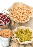 Grão-de-bico, feijões de mung, feijão vermelho nos sacos isolados no whi Imagem de Stock