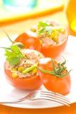 Grão de soja do milho do aipo do tomate enchido do atum Imagens de Stock