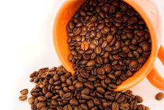 Grão em uma chávena de café imagem de stock royalty free