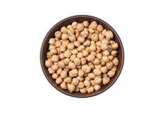 Grãos-de-bico brancos secados, Chana branco, feijões paquistaneses/indianos das lentilhas secadas do grão-de-bico, na bacia de ma fotografia de stock royalty free