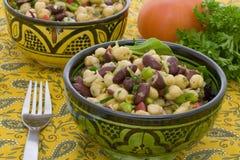 Grãos-de-bico e salada do feijão Fotografia de Stock