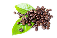 Grãos de café e folhas Foto de Stock