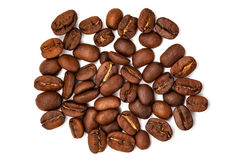Grãos de café grandes dispersados Imagem de Stock Royalty Free