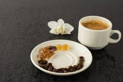 Grãos de café, xícara de café e orquídea Imagem de Stock Royalty Free