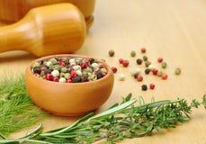 Grãos e ervas da pimenta Imagem de Stock Royalty Free