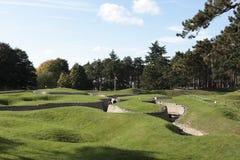 Gräben im kanadischen nationalen Vimy Erinnerungspark Stockfotos