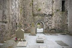 Gräber in den irischen Abteiruinen Stockfotografie