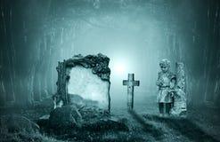 Gräber in einem Wald stockbilder