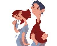 Gräla av två vänner Flickagråt royaltyfri illustrationer