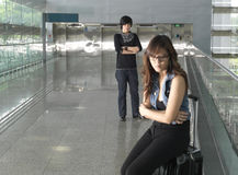 gräla för par för flygplats asiatiskt kinesiskt Arkivbild