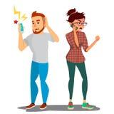 Gräla parvektorn Konflikt i familj eller kontor Man och kvinna motsättningar negativa sinnesrörelser Fru och maka stock illustrationer