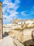 Gränd av Sassi di Matera, förhistorisk historisk mitt, UNESCOvärldsarv, europeisk huvudstad av kultur 2019 arkivfoto