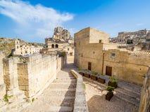 Gränd av Sassi di Matera, förhistorisk historisk mitt, UNESCOvärldsarv, europeisk huvudstad av kultur 2019 royaltyfri foto