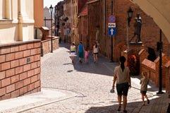 Gränd av Spichrze i Grudziadz Polen Arkivbilder
