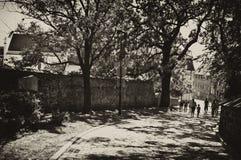 Gränd av Spichrze i Grudziadz Polen Arkivfoto
