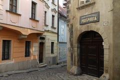 Gränd för nÃcka för  för ZÃ-¡ moÄ nära MichaelÂs port i stadsmitt av Bratislava Royaltyfri Fotografi