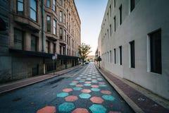 Gränd i i stadens centrum Greensboro, North Carolina Arkivfoto