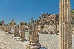 Gränd med forntida kolonner på solig dag Fotografering för Bildbyråer