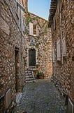 Grändsikt med det stenväggar, huset och växter i Helgon-Paul-de-Vence Royaltyfri Foto