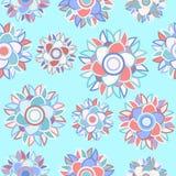 Gräns - blå sömlös blom- abstrakt bakgrund Arkivbilder