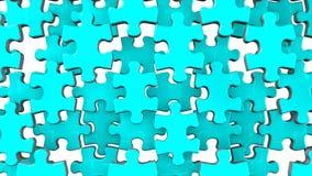 Gräns - blått pussel på vit bakgrund stock illustrationer