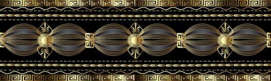 Gräns för grek 3d för tappning guld- Vektorn slingrar den sömlösa modellen royaltyfri illustrationer