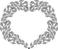 Gräns för hjärta för handattraktion ljust rödbrun Royaltyfri Fotografi