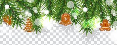 Gräns för jul och för lyckligt nytt år av julgranfilialer med kakor på genomskinlig bakgrund Semestrar garnering vektor vektor illustrationer