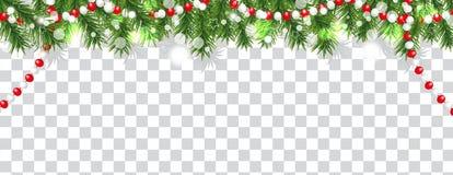 Gräns för jul och för lyckligt nytt år av julgranfilialer och pärlor på genomskinlig bakgrund Semestrar garnering vektor royaltyfri illustrationer