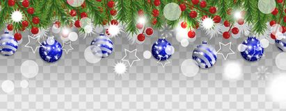 Gräns för jul och för lyckligt nytt år eller girland av julgranfilialer med blåa bollar och järnekbär på genomskinligt royaltyfri illustrationer