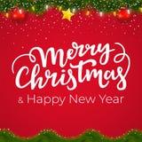 Gräns för jul och för nytt år med röd bakgrund Xmas-kortdesign med den dekorativa beståndsdelar och vintergirlanden royaltyfri illustrationer