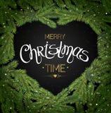 Gräns för julgranfilialer Glatt märka för jul vektor royaltyfri illustrationer