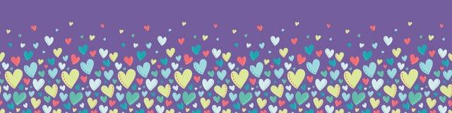 Gräns för ljusa färgrika hjärtor för vektor purpurfärgad sömlös arkivbild