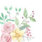 Gräns för ram för sommar för vår för blad för sidor för bröllop för vattenfärghörnblomma Arkivbild